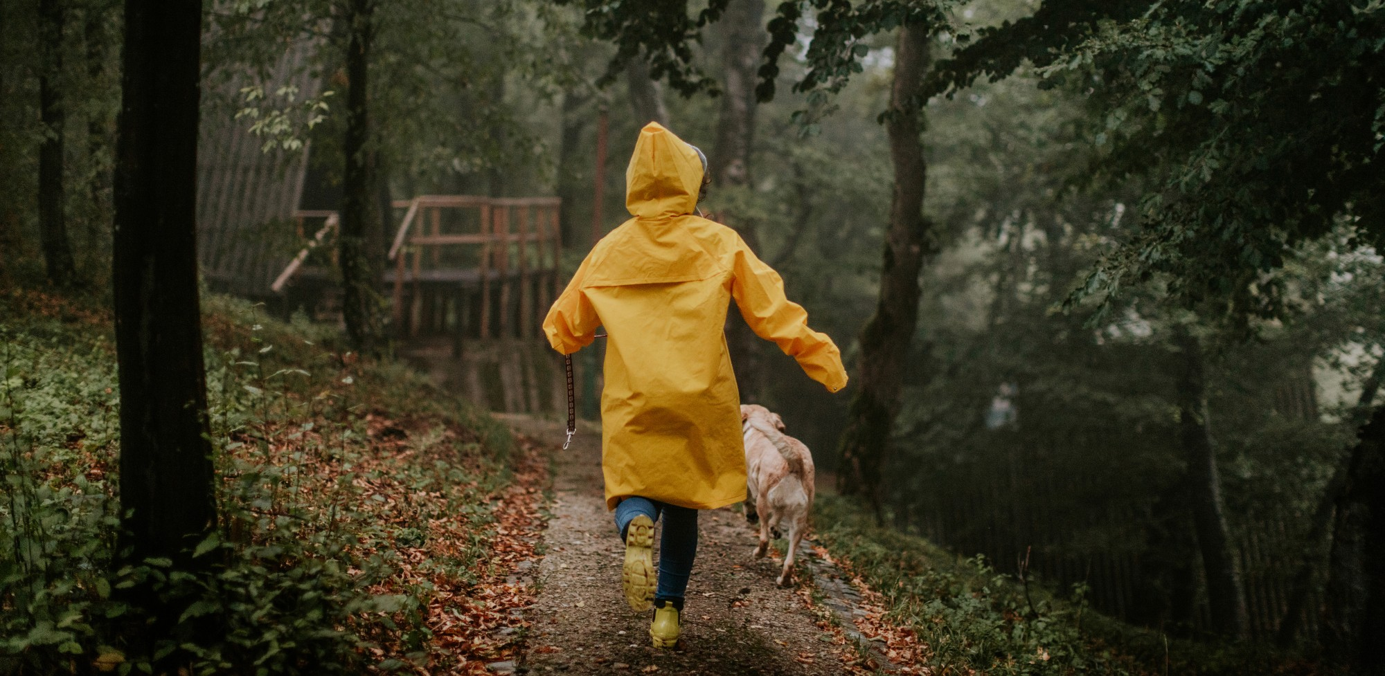 Woman in raincoat with dog
